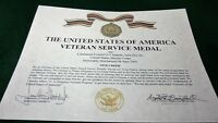 THE VETERAN SERVICE MEDAL CERTIFICATE Army Navy Air Force Marines Coast Guard