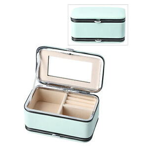 Mint Green Faux Leather Jewelry and 6pc Manicure Set Organizer, NEW