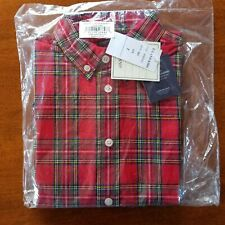 NEW Boys Size 7 E-LAND KIDS Red Tartan Plaid Long Sleeve Button Down Shirt