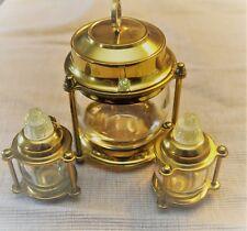Sugar / Jam Bowl Salt & Pepper Shakers Lantern 50s Vintage Brass & Glass