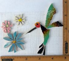Hummingbird & Flowers Mosaic Tiles Broken Cut China Plate Tiles