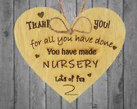 Thank You Nursery Teacher Gift  Sign Pre-school Leaving Present Oak Wooden Heart