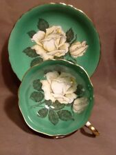 Double Paragon Wide Mouth Tea Cup & Saucer -Huge White cabbage Rose Green