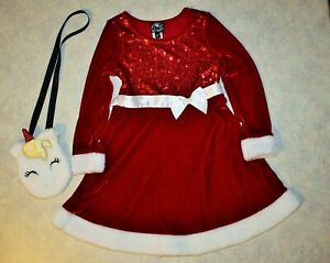 Girl size 6 Pink Violet Red Sequin Velour Faux Fur Holiday Dress & Unicorn Purse