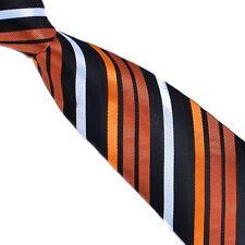 PRICED TO CLEAR Mens Classic Stripe Silk Jacquard Necktie Tie Black Copper White