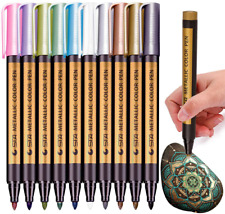 Misulove Metallic Marker Pens, Set of 10 Colors Paint Markers for Black Paper, R