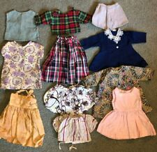 """Lot of 11 Vintage Girls Doll Clothes 16-18"""" Handmade Tops Skirts Dresses Tlc"""