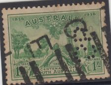 Stamp 1/- green Centenary of South Australia with private perfin SB, scarce