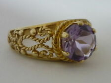 Stunning & Unusual Kenyan Amethyst Solitaire & 9K Gold Ring Size O