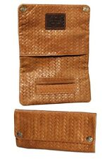 """ORIGINAL KAVATZA Tobacco Pouch """"Woven"""" Genuine Leather Rolling Help Papers Slot"""