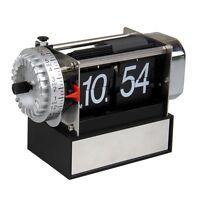 Retro Modern Metal Digital Auto Flip Page Gear Desk Table Alarm Clock Decoration