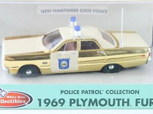 1969 Plymouth Fury New Hampshire State Police Patrol Car White Rose 1:43 GOLD LE