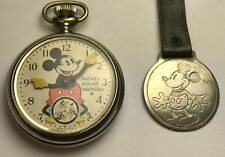 Ingersoll Mickey Mouse Pocket Watch with Fob, 1934, Original, Good Condition!