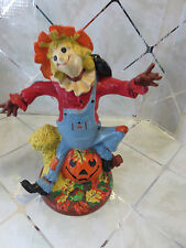 "Vintage 1977 Byron Molds 12"" Scarecrow & Jack O'Lantern Signed By Artist Ceramic"