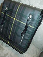 Bodhi Messenger/Crossbody Bag Green Multi Plaid Coated Linen MSRP $500+
