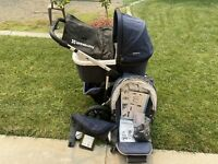 UPPAbaby VISTA Stroller Dark Blue with Accessories And Bassinet ECU
