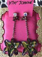 Betsey Johnson Asian Jungle Acrylic Purple Tropical Flower Crystal AB Earrings