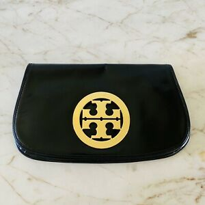 TORY BURCH Solid Black Shiny Leather Large Gold Logo Clutch Bag