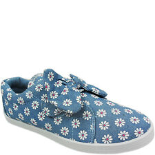 NEW GIRLS LADIES CHILDS TOUCH FLAT CANVAS FLOWER PUMPS SNEAKERS PLIMSOLLS SIZE