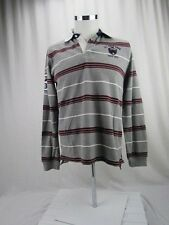 US Polo Assn Long Sleeve Rugby Shirt Gray Burgundy Men's Size Small - Ships Free