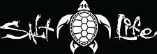 "SALT LIFE TURTLE  & SIGNATURE "" WHITE"" UV Rated Vinyl DECAL*FREE  SHIPPING*"