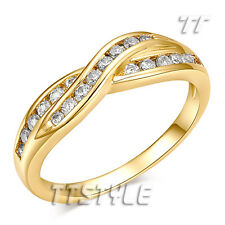 TT 18K Gold Plated Inlaid Sparkling CZ Engagement Wedding Ring (RF57)