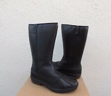 UGG BELFAIR BLACK LEATHER SHEEPSKIN WATERPROOF DUCK BOOTS, US 10/ EUR 41 ~NIB