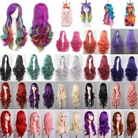 Womens Long Wavy Curly Hair Synthetic Cosplay Full Wig Wigs Party Fancy Dress