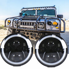 "2x 7"" H4 H13 RGB LED Headlights For Hummer Humvee m998 LMTV BMY M1045 M1078 M925"