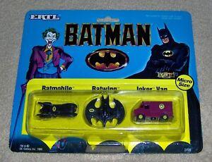 "VINTAGE-1989-ERTL-MICRO-1/128 SCALE-""BATMAN""-BATMOBILE-BATWING-JOKER VAN-MISC8+P"