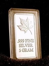 5 Gram .999 Fine Solid Silver Bar - Canadian Maple Leaf Commemorative Design