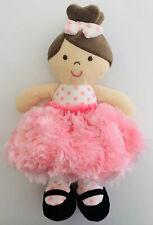 Okie Dokie Pink Plush Brunette Doll Rattle Polka Dots Swirl Skirt Baby Lovey A+
