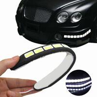 2X 20W 12V Daytime Running WHITE LED Light DRL COB Strip Lamp Fog Car Waterproof