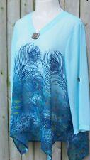 Indigo Soul L Lg 10 12 Turquoise Navy Blue Sheer Asym Top Peacock Print Tunic
