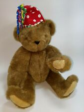 VINTAGE Vermont Teddy Jointed Bear Clown Hat Moving Arms and Legs