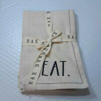 Rae Dunn Set of 4 Fabric Napkins Eat Drink Cheers Enjoy Embroidered Farmhouse*^F