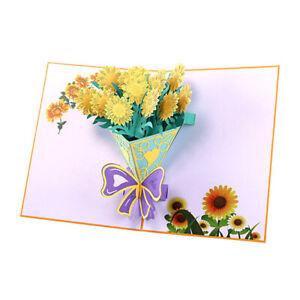 Kreative 3D Blume Pop Up Karte Handgemachte Grußkarte Sonnenblume Bouquet Karte