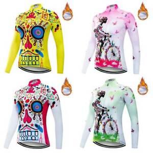 Women's Winter Cycling Jersey Long Sleeve Ladies Fleece Cycle Bicycle Shirt Top