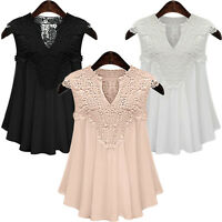 New Women Lace Splice Summer Casual Vest T Shirt V-Neck Blouse Loose Tank Tops