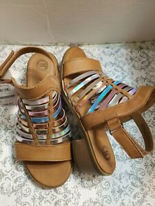 Wonder Nation Girl's straps  Gladiator heels brown Sandals Sz 1 Leather Open Toe