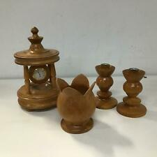 Set Of Handmade Cypress Wood Ornaments Clock Bowl Candle Sticks #402