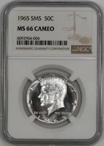 :1965 SMS 50C Kennedy Half NGC Near-Superb-BU MS 66 Cameo Contrast High-Grades
