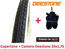 "Copertone ""DEESTONE"" Bianco/Nero 24x1,75 + Camera per Bici 24"" MTB Mountain Bike"
