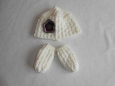 Baby Girls Clothes 0-3 Months - Cute Girl Winter Knitted Hat & Mitts -