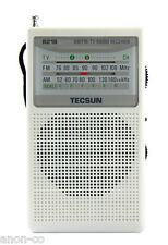TECSUN R-218 AM / FM Pocket Radio << WHITE + English Manual >>