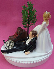 Wedding Cake Topper Hiking Boots Outdoors Hiker Fan Hike Tree Compass Themed