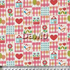 Herzen, Karo rosa, Blumen, Vögel, Patchwork, Deko Stoff (20x110)cm, € 14,50/M