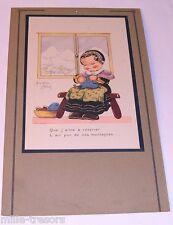 Ancienne Affichette Illustration de Béatrice MALLET : L'air pur de nos montagnes