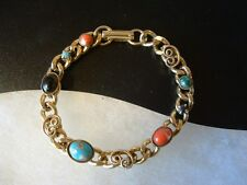 VTG Goldtone heavy link Charm Bracelet Scroll Accent Red Black Blue Glass Stones