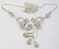 "925 Sterling Silver RAINBOW MOONSTONE GEMSET Necklace 16.8"" 9.6 Grams"